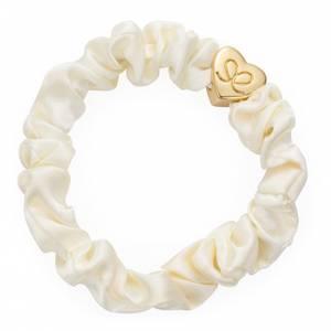 Bilde av BE Gold heart silk scrunchie cream