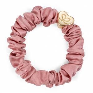 Bilde av BE Gold heart silk scrunchie champagne pink